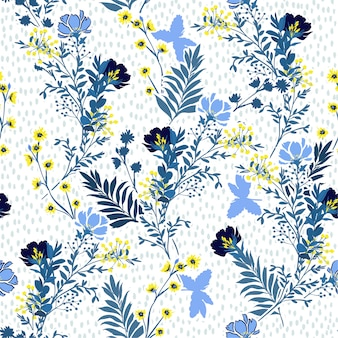 Seamless vector pattern  vector illustration of a hand drawn blue and yellow meadow flowers and leaves.