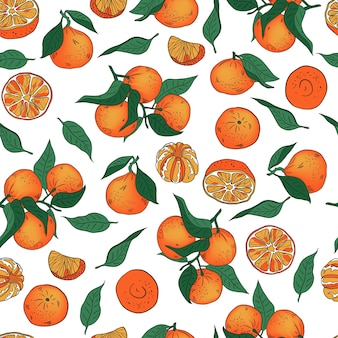 Seamless vector pattern of whole and peeled tangerines