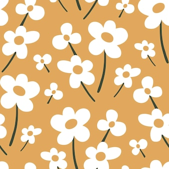 黄色の背景に落書きスタイルの抽象的な白い花とシームレスなベクトルパターン