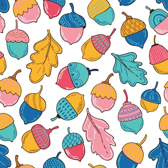 Seamless vector pattern with acorns and leaves