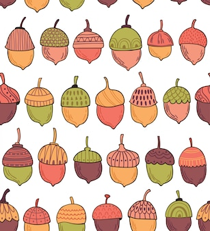 Seamless vector pattern with acorns