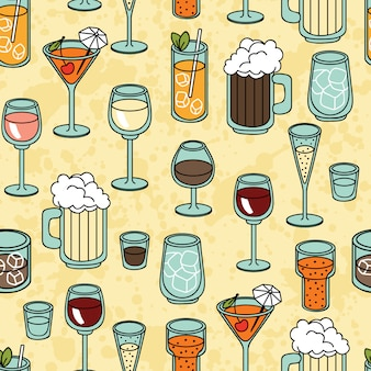 Seamless vector pattern with alcohol cocktail