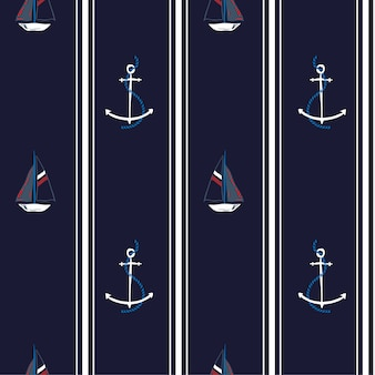 Seamless vector pattern with anchors and ocean boat