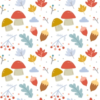 Seamless vector pattern with autumn leaves and mushrooms