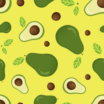 Seamless vector pattern with avocado
