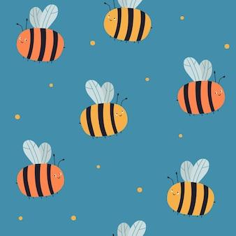 青い背景の上の蜂とのシームレスなベクトルパターン夏のパターン