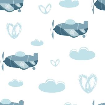 Бесшовные векторные шаблон с синими самолетами и облаками детская иллюстрация