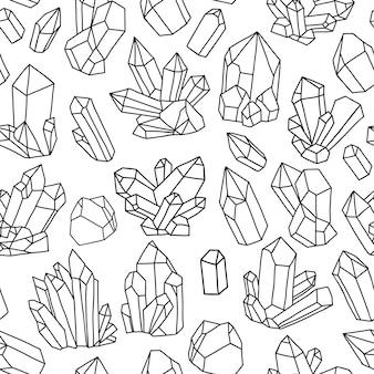 明るい結晶とのシームレスなベクトルパターン。カラフルなイラスト