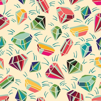 Seamless vector pattern with bright crystals. colorful illustration