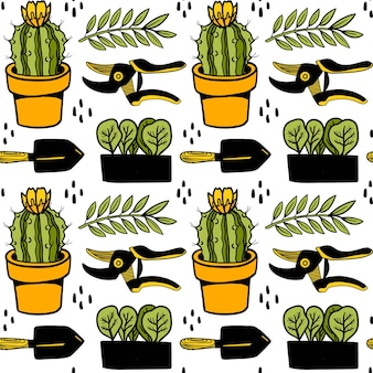 Seamless vector pattern with cactus potted plants shovel secateur plant stylish background