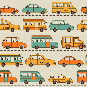 Seamless vector pattern with cars and buses.