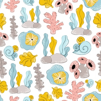 Seamless vector pattern with cartoon algae, sea plants
