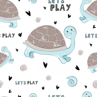 Seamless vector pattern with cartoon turtle and lettering