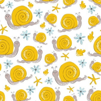 Seamless vector pattern with cartoon yellow snail on white