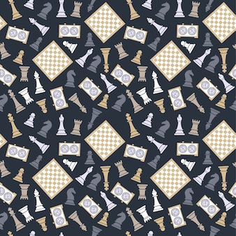 Seamless vector pattern with chess on dark bluu