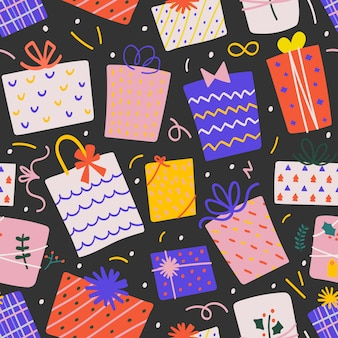 Seamless vector pattern with christmas gift boxes