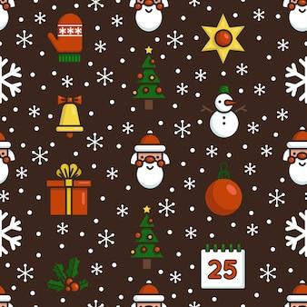 크리스마스 simbols와 원활한 벡터 패턴입니다. 재미 있는 평면 아이콘. 섬유, 커버, 벽지, 포장 및 기타 디자인 작업에 적합합니다.