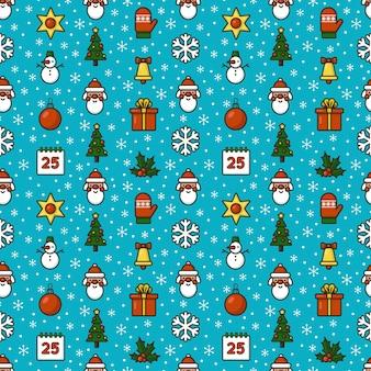 Бесшовные векторные шаблон с рождественскими символами забавные плоские иконки