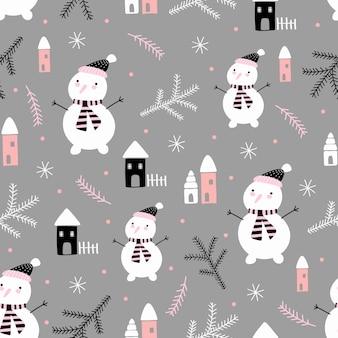 冬の休日のための落書きスタイルのクリスマスツリーと雪だるまとのシームレスなベクトルパターン