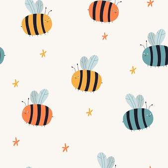 ベージュの背景にカラフルな蜂と花とシームレスなベクトルパターン夏のパターン