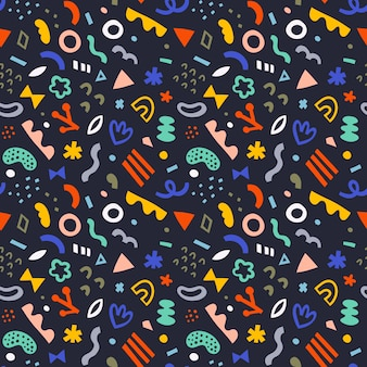 Seamless vector pattern with colorful doodles