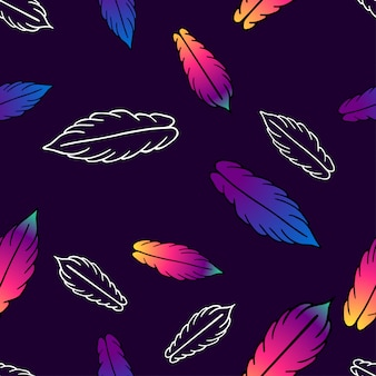 Seamless vector pattern with colorful stylized feathers