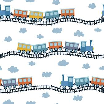 手描きスタイルの子供のためのカラフルな電車のイラストとシームレスなベクトルパターン