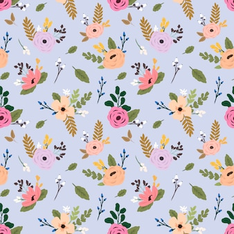 Seamless vector pattern with colorful wildflowers.