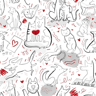 Seamless vector pattern with contour cats and dogs in different poses and emotions