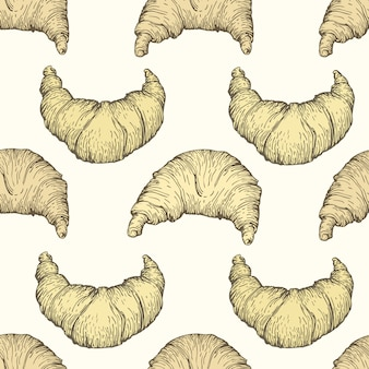Seamless vector pattern with croissant.