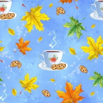 Seamless vector pattern with a cup of hot tea, cookies and fallen colorful autumn leaves.