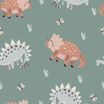 Бесшовные векторные шаблон с милыми динозаврами животных на зеленом фоне творческие текстуры животных
