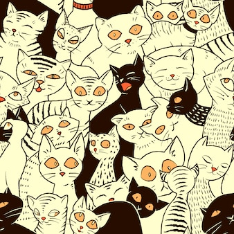Seamless vector pattern with cute cats for wallpapers