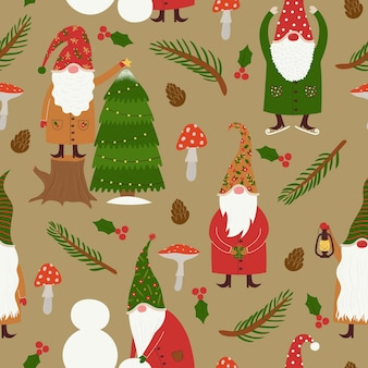 Seamless vector pattern with cute christmas fairy gnomes doing winter holiday activities