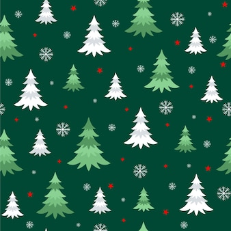 Seamless vector pattern with cute christmas trees snowflakes stars on the dark background