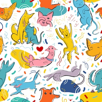Seamless vector pattern with cute color cats and dogs in different poses and emotions, best friends