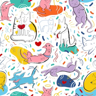 Seamless vector pattern with cute color cats and dogs in different poses and emotions