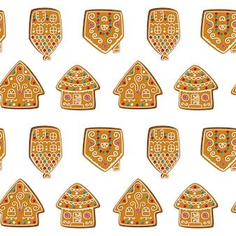 귀여운 진저 브레드 하우스와 원활한 벡터 패턴입니다. 흰색 바탕에 크리스마스 쿠키입니다. 직물, 벽지 또는 인쇄 디자인에 적합합니다. 벡터 일러스트 레이 션