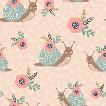 Seamless vector pattern with cute snail flowers and bouquets creative animal texture
