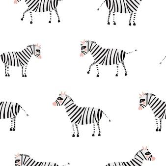 Бесшовные векторные шаблон с милыми зебрами, изолированные на белом фоне