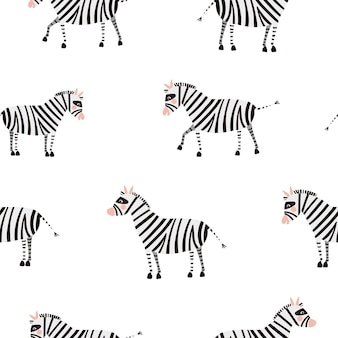 Seamless vector pattern with cute zebras isolated on a white background