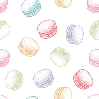 Бесшовные векторные шаблон с десерт французское миндальное печенье или макарон