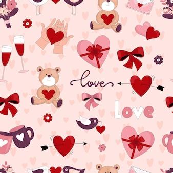 バレンタインデーのためのさまざまな要素を持つシームレスなベクトルパターン