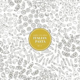 Безшовная картина вектора с разными видами традиционных итальянских макаронных изделий.