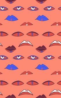 Бесшовные векторные шаблон с глазами и ртами хэллоуин абстрактный повтор