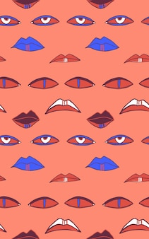 Seamless vector pattern with eyes and mouths halloween abstract repeat