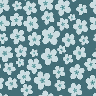 파란색 배경에 꽃과 원활한 벡터 패턴 여름 패턴