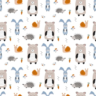 Seamless vector pattern with forest animals. hand drawn cute cartoon bear, rabbit, hedgehog and snail. scandinavian style children illustration.