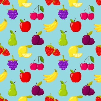 Seamless vector pattern with fruits and berries
