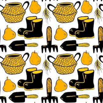 庭のものブーツ梨バスケットシャベルレーキ小穂とのシームレスなベクトルパターン